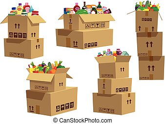 Cardboard boxes stacked with goods.eps