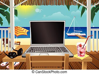 Computing in holiday beach hut.eps - A laptop computer...