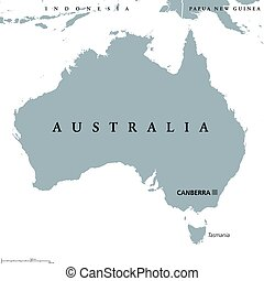 Australia political map with capital Canberra. Commonwealth...