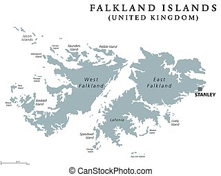 Falkland Islands political map with capital Stanley. British...