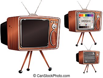 Retro television sets.eps - Three illustrations of an old...