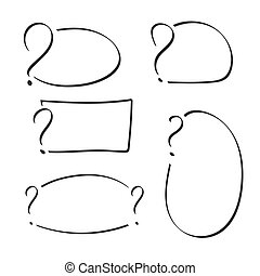 Set of question mark with text box hand drawn. Sketch style....