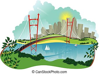 Suspension bridge and city.eps - An image of a suspension...