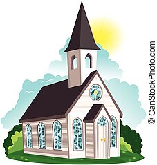 White clapboard church building.eps - An image of an old...