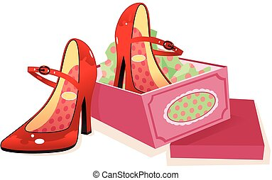 Womans red shoes and shoebox.eps