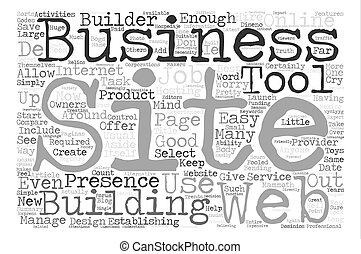 Start With A Site Builder For Your Website text background word cloud concept