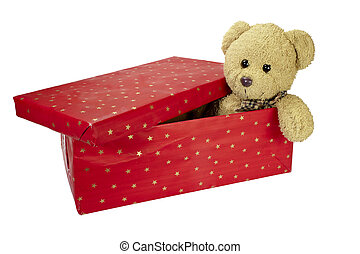 present box teddy bear birthday christmas - close up of red...