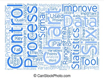 Six Sigma Tools text background word cloud concept