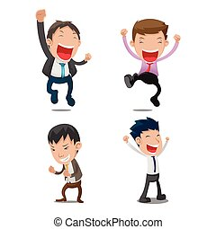 Man Cartoon Happy Jump Set Vector