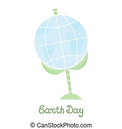 Earth Day. A planet on a stem with leaves