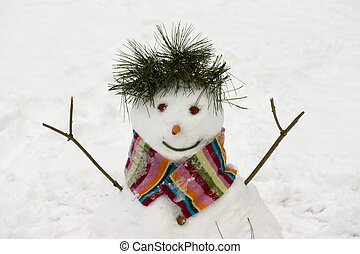 snowman - photo of a snowman in the park