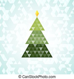 Merry Christmas green tree, triangular pattern