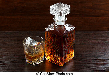 Glass whiskey on wood five - Glass and bottle wine on wooden...