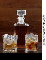Glass whiskey on wood one - Glass and bottle wine on wooden...