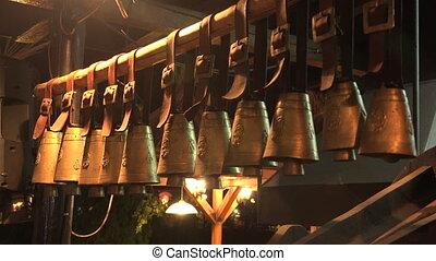 Hanging bells. 4K. - Hanging bells. Shot in 4K (ultra-high...