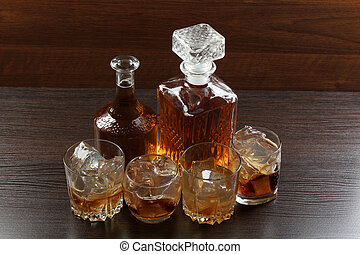 Glass whiskey on wood two - Glass and bottle wine on wooden...