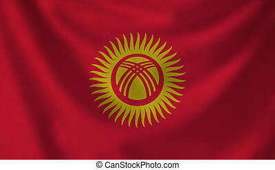 Flag of Kyrgyzstan. - Vintage background with flag of...