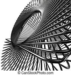 abstract metallic wires, 3d render