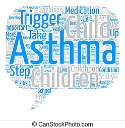 Steps To Control Childhood Asthma text background wordcloud concept