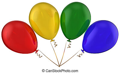 Balloons Togetherness concept - Bunch of four shiny colorful...
