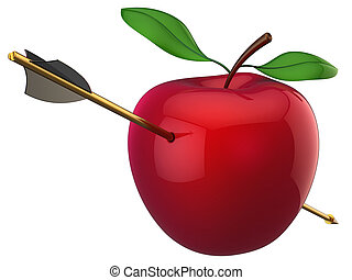 Apple hit by arrow (Hi-Res) - An golden arrow piercing a...