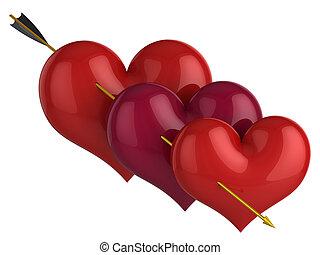 Triplex love concept (Hi-Res) - Three red shiny hearts...