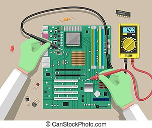 Engineer with multimeter checks motherboard - Hands of...