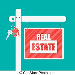 Wooden placard. Real estate sign. Key on chain. Buy or rent...