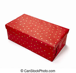 red present box package birthday christmas - close up of red...