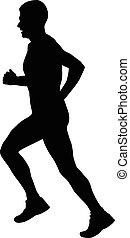 male runner athlete - side view black silhouette male runner...