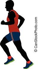 male runner of average years - black silhouette male runner...