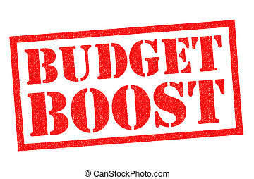 BUDGET BOOST red Rubber Stamp over a white background.