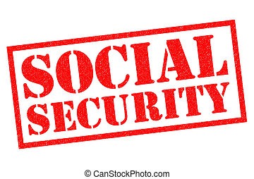 SOCIAL SECURITY red Rubber Stamp over a white background.