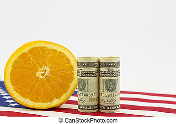 American agriculture in money, flag, and fruit symbols