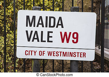 Maida Vale Street Sign in London - A street sign for Maida...