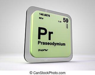 Proseodymium - Pr - chemical element periodic table 3d...