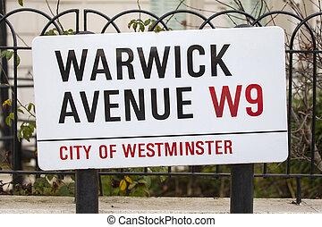Warwick Avenue in West London - A street sign for Warwick...