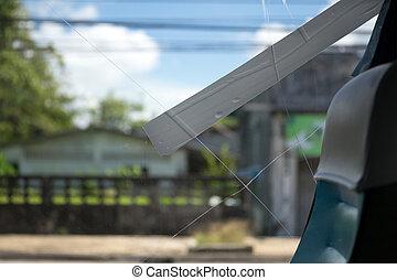 Accident cracked broken bus window glass