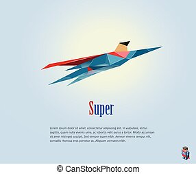 Vector illustration of flying super hero, origami style icon