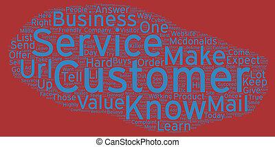 klient, złoty, Pojęcie, Służba, reguły, tekst, wordcloud,...