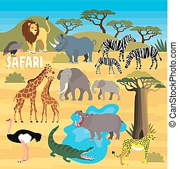 African Animals. Vector Illustration. - Africa Safari Animal...