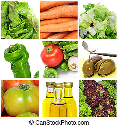 vegetables for a salad collage