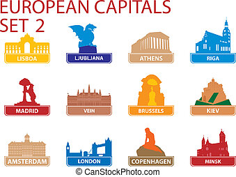 European capital symbols. Vector illustration. Set 2