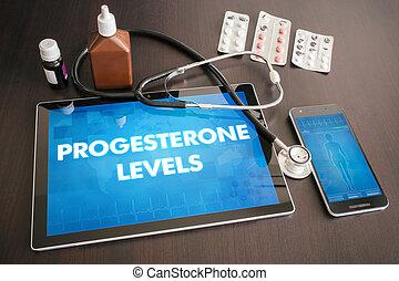 concepto, tableta, médico, progesterona, Niveles,...