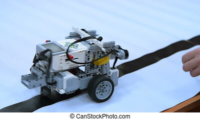 Driving robot made from educative construction kit - Driving...