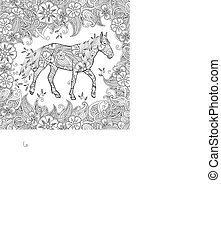 Coloring page in zentangle inspired style. Running horse on...