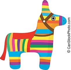 Pinata icon, flat style. Donkey colorful. Isolated on white...