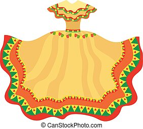Mexican dress icon, flat style. Traditional Mexican female apparel. Isolated on white background. Vector illustration, clip-art.