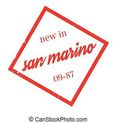 New In San Marino rubber stamp. Grunge design with dust...