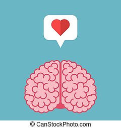 Brain, heart, speech bubble
